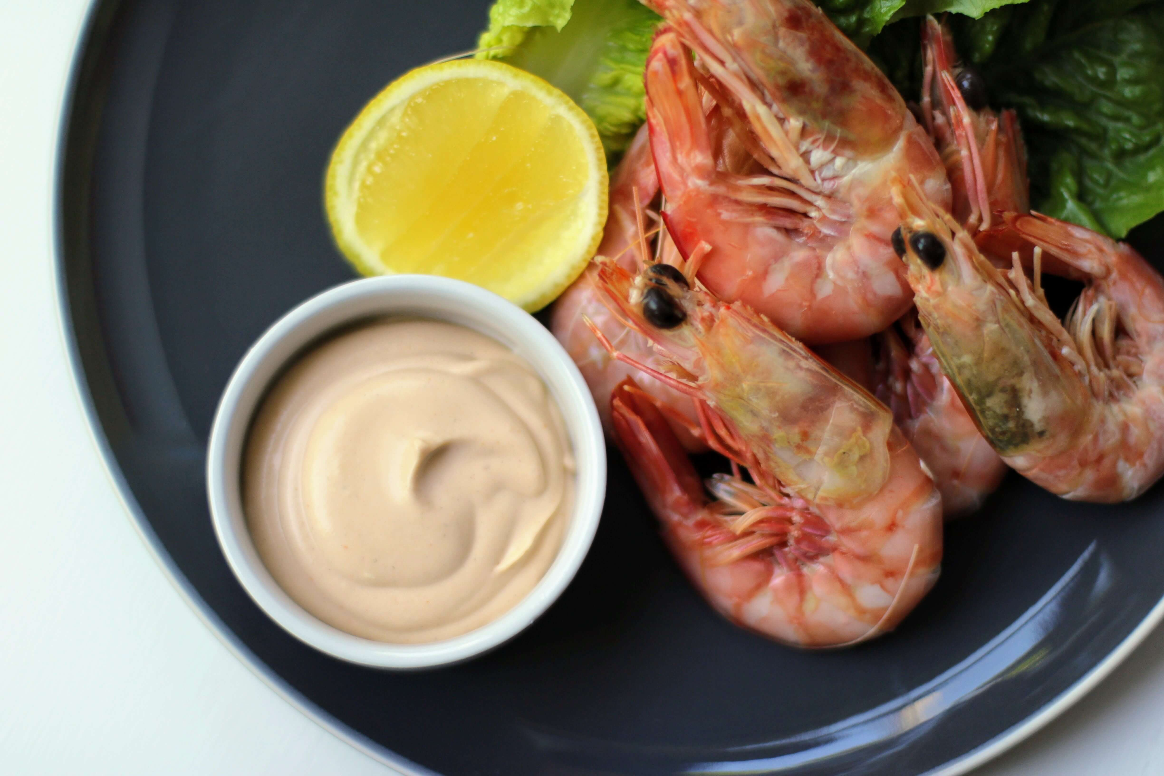 Prawns and sauce