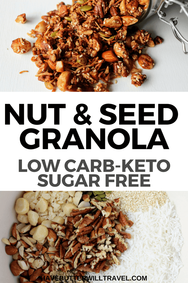 A delicious healthy keto granola recipe. Homemade grain free granola made easy using nuts, coconut, sweetener and spices.