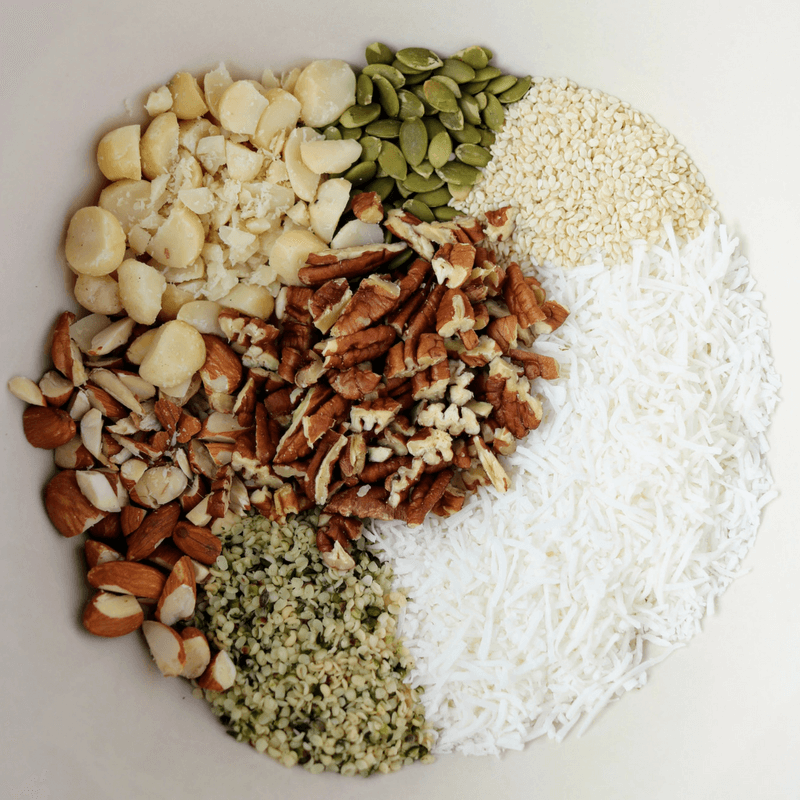 Keto granola ingredients in a bowl