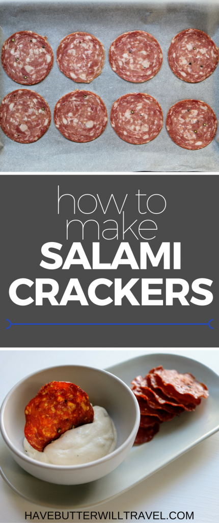 Salami crackers are an excellent keto cracker option. How to make Salami crackers is part of the Have Butter will travel 'How to' series.