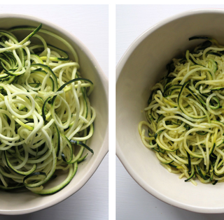 Zoodles before and after salting and draining