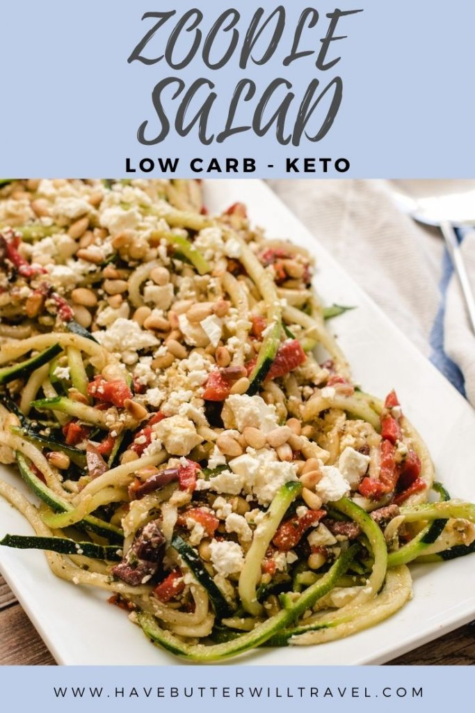 This salad is a summery change from plain zucchini noodles. Keto zucchini salad is an excellent option to take to a BBQ. #zoodles #zoodlesalad #ketosalad