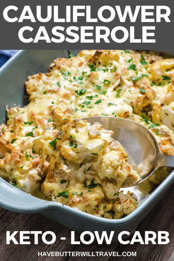 Keto Cauliflower Casserole is a delicious low carb meal. It's really easy to make and rich and decadent. Make sure you give it a try for Dinner. #ketosidedish #ketocauliflowercasserole #ketocasserole #lowcarbcasserole #keto #lowcarb