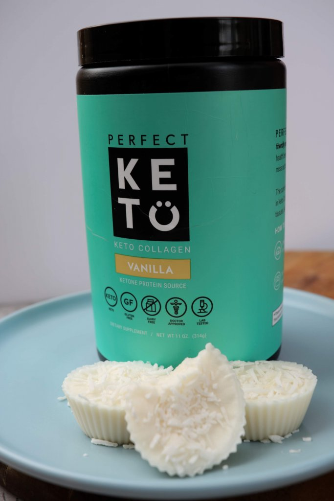 I love to have a keto coconut collagen fat bomb with my cup of tea after my dinner. They are full of healthy fats and only 1g of carbs per fat bomb.