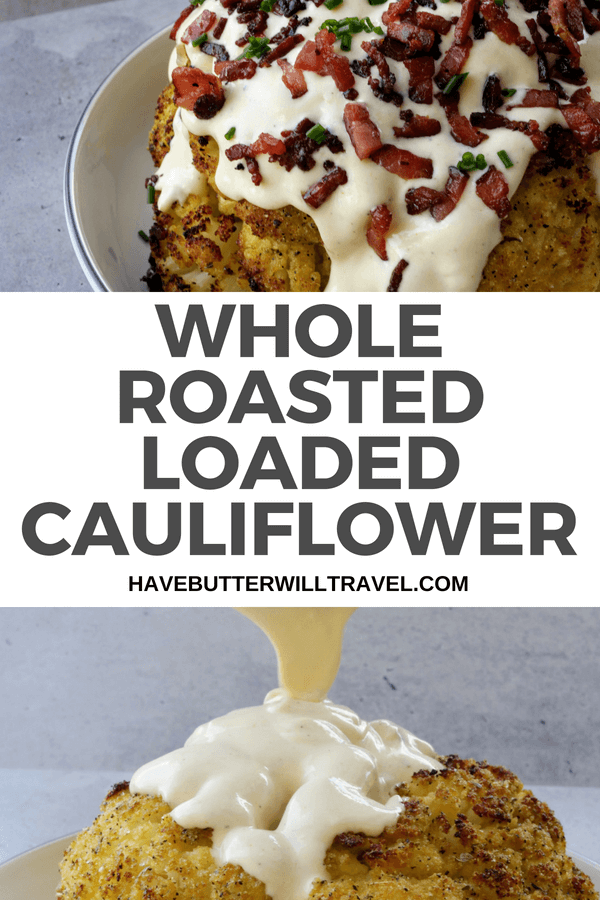 Loaded Cauliflower is the perfect low carb substitute for a loaded potato. This cauliflower is roasted whole & topped with cheese sauce, bacon and chives.