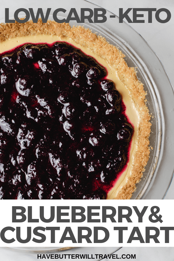 This blueberry tart is a keto custard tart topped with a blueberry sauce. If you are looking for the perfect low carb and sugar free dessert, this is it.