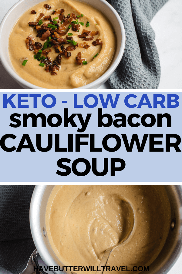 This keto cauliflower soup is super simple to make and so delicious with the smoky flavours of baon and paprika paired with the smooth and creamy texture. #keto #cauliflowersoup #lowcarbsoup #ketosoup