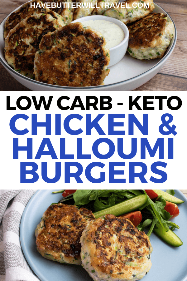 These keto chicken burgers an excellent low carb option for dinner. These burgers use halloumi and zucchini to add flavour and texture. #keto #lowcarb #ketoburgers #lowcarbburgers