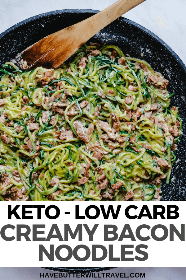 This keto creamy bacon noodles recipe is a quick and easy weekday dinner. It is so creamy and delicious with the cream and the cheese. #keto #lowcarb #ketodinner #zucchini #zoodles