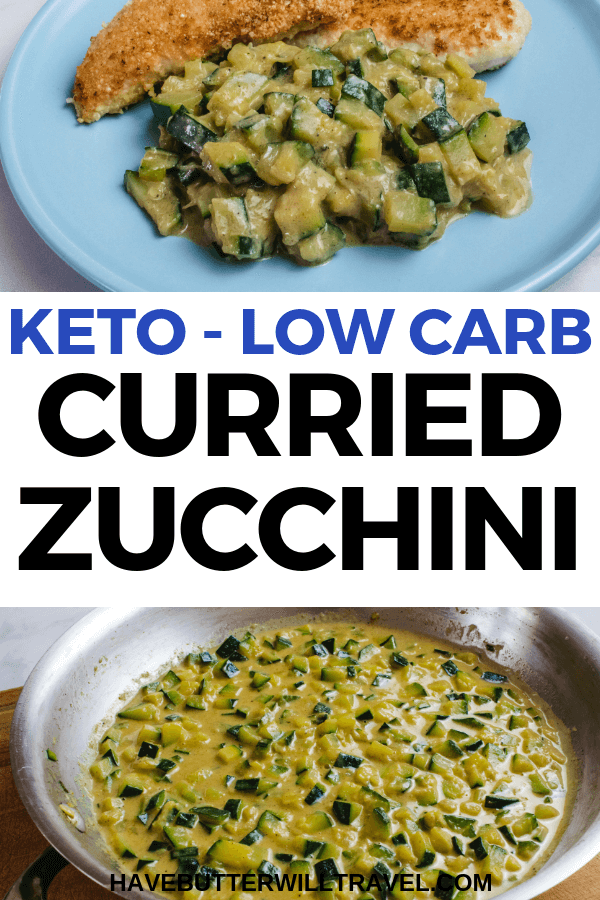 Curried zucchini is one of the perfect side dish options. Packed full of flavour with curry and cream making this a delicious keto side dish option. #keto #ketoside #ketozucchini