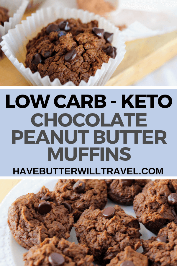 Keto chocolate peanut butter muffins are a great option for breakfast or a sweet treat. #keto #ketomuffins #ketochocolatemuffins