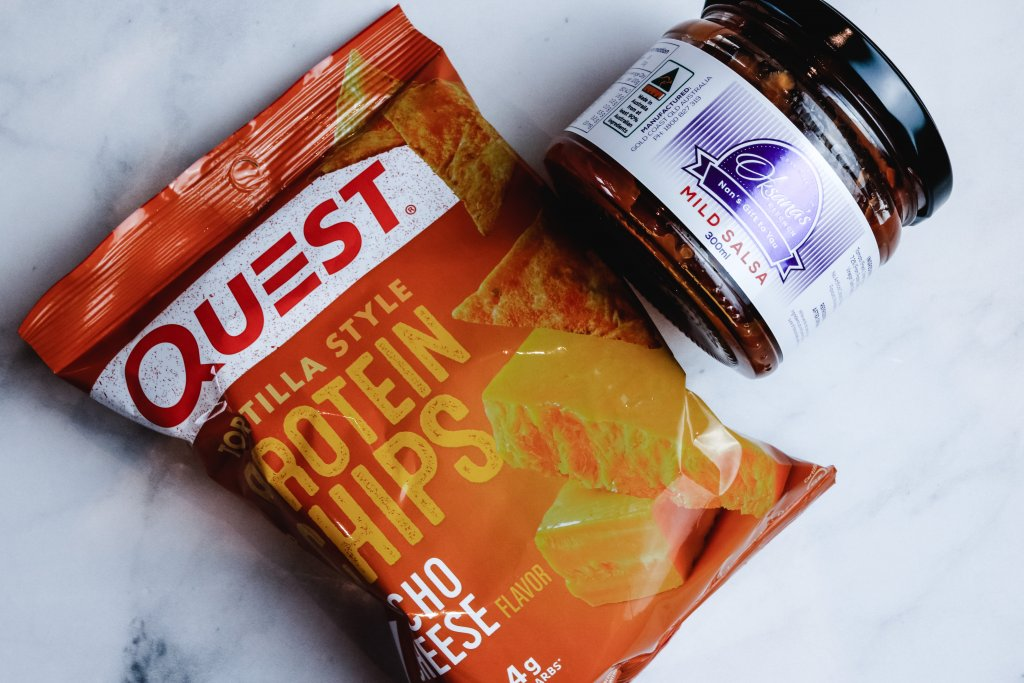Quest torilla style protein chips and salsa jar