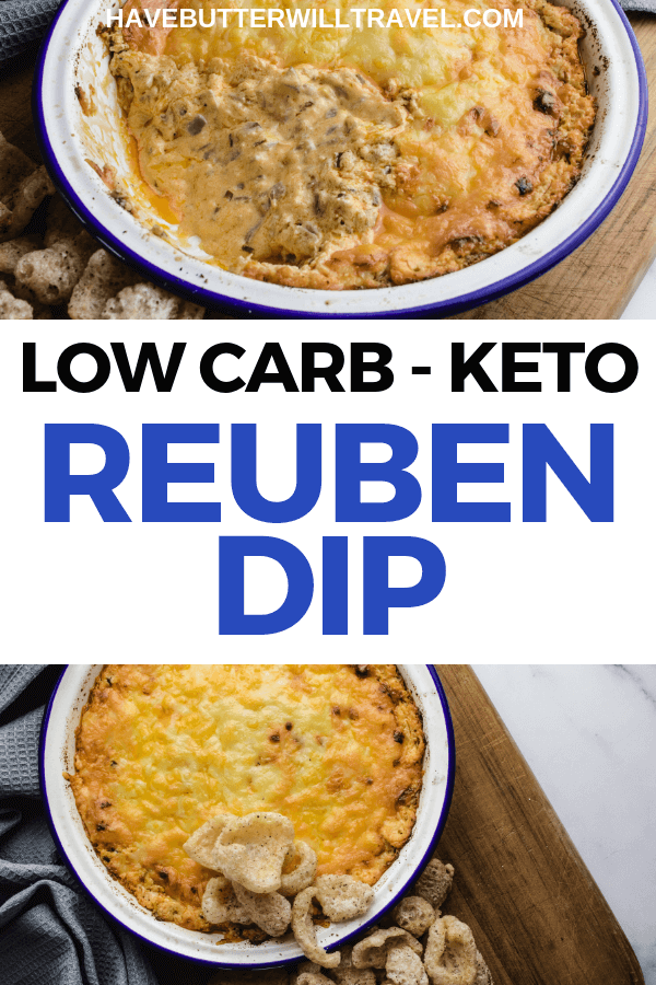 This keto reuben dip is the perfect dip to use up leftover corned beef from St Patrick's day celebrations or to take to a potluck or BBQ. #keto #ketodip #lowcarb #lowcarbdip