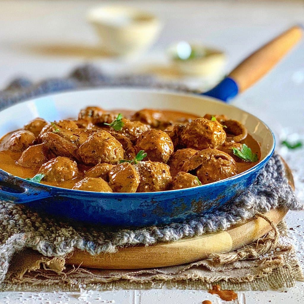 This porcini meatball stroganoff recipe from make and freeze keto are the perfect keto friendly dinner. We love that you can freeze the leftovers.