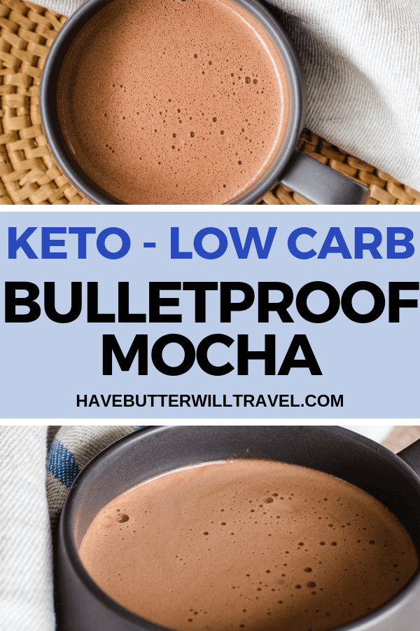 This bulletproof mocha is the perfect way to start your day when living a keto lifestyle. Packed full of flavour, fat and a kick from the coffee. #bulletproofcoffee #bulletproofmocha #ketomocha #lowcarbmocha