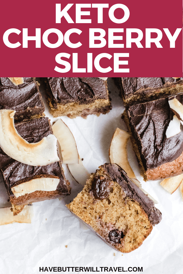 A delicious keto treat perfect for a morning or afternoon tea. This keto slice recipe uses chocolate and berry flavours for a delicious keto treat. #ketoslice #keto #lowcarb #lowcarbslice