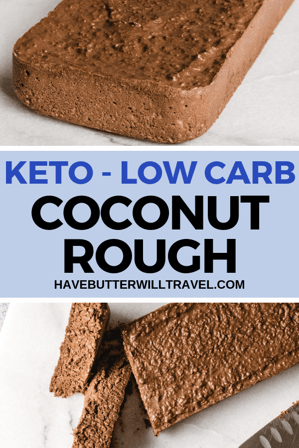 This keto coconut rough recipe is the perfect low carb snack or treat. Make a batch and store in the freezer or fridge so you have some on hand. #keto #lowcarb #coconutrough #ketococonutrough #ketochocolate