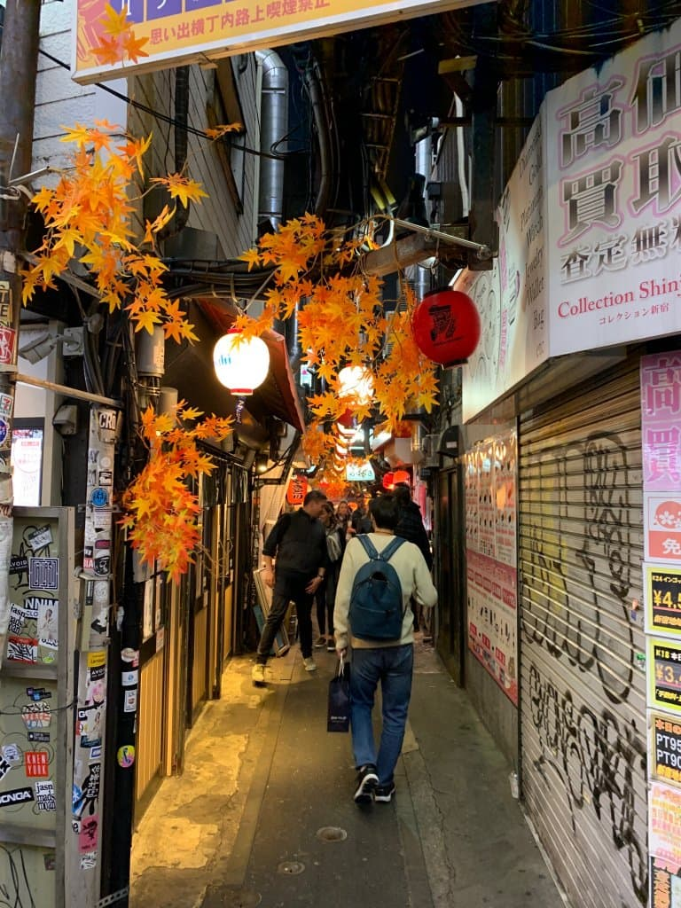 People walking down a Tokyo Allyway called Yakitori lane.