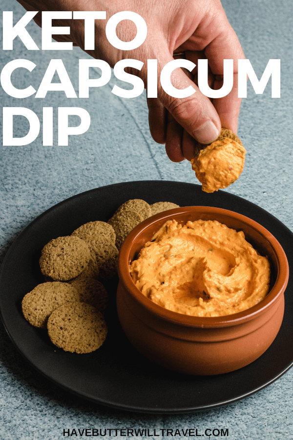 This roasted capsicum dip recipe is the perfect keto friendly dip to serve when entertaining your family and friends. Best served with some keto crackers. #capsicum #capsicumdip #peppers #peppersdip #ketodip