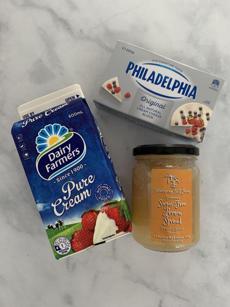 pure cream in the carton, cream cheese in it's box and lemon spread in the jar