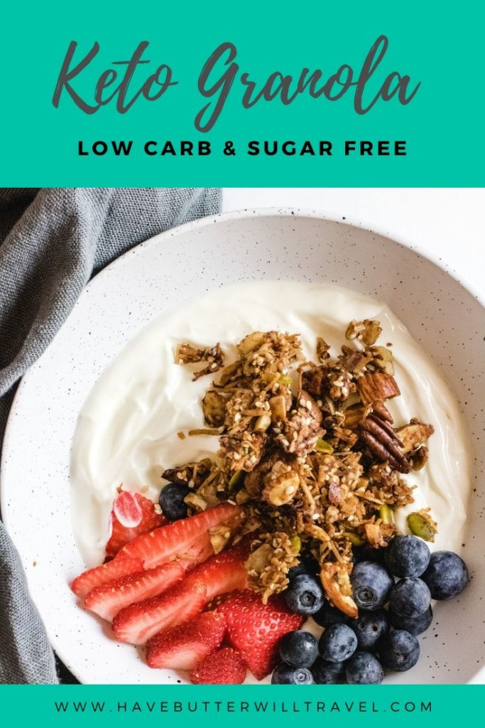 A delicious healthy keto granola recipe. Homemade grain free granola made easy using nuts, coconut, sweetener and spices. #ketogranola #ketobreakfast #ketogranolarecipe #lowcarbgranola #lowcarbgranolarecipe
