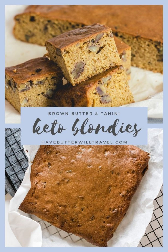 This dececant and chewy keto blondies recipe is the perfect option for a keto snack. They also have a version to make nut free keto blondies. #ketoblondies #ketoblondiesrecipe #ketosnacks #ketodessert