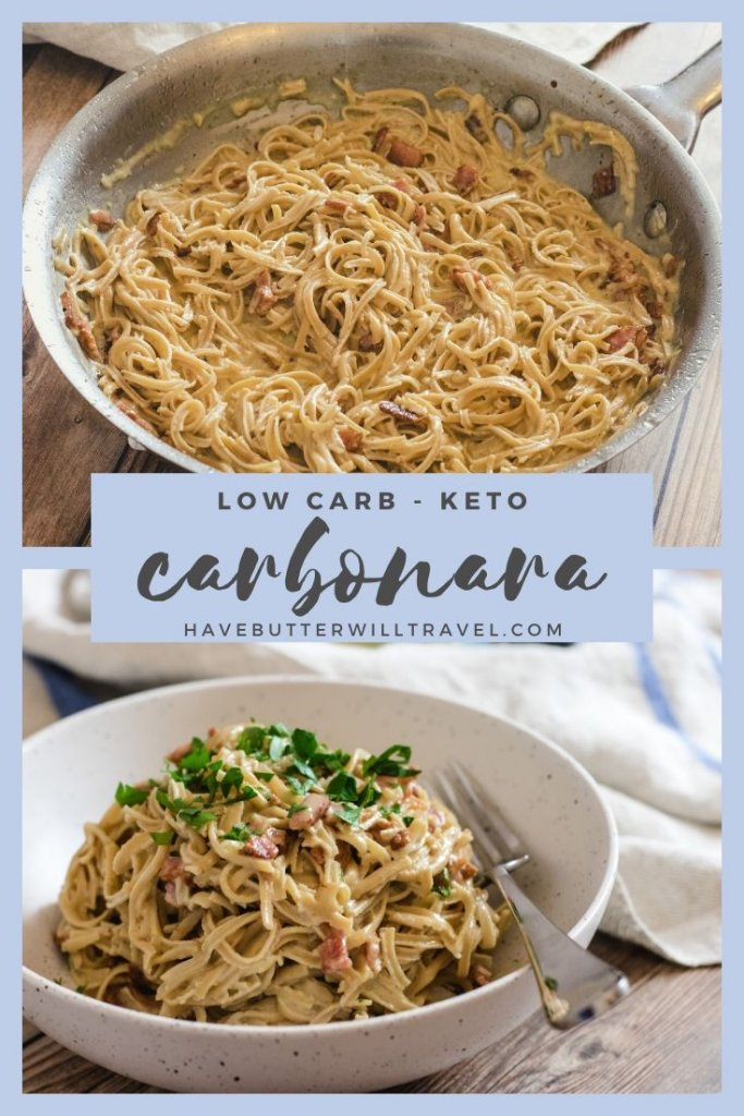 using the slendier soy bean spaghetti this keto carbonara tastes just as good as the traditional version. If you miss carbonara this recipe is for you. #ketopasta #ketocarbonara #ketodinner #lowcarbcarbonara