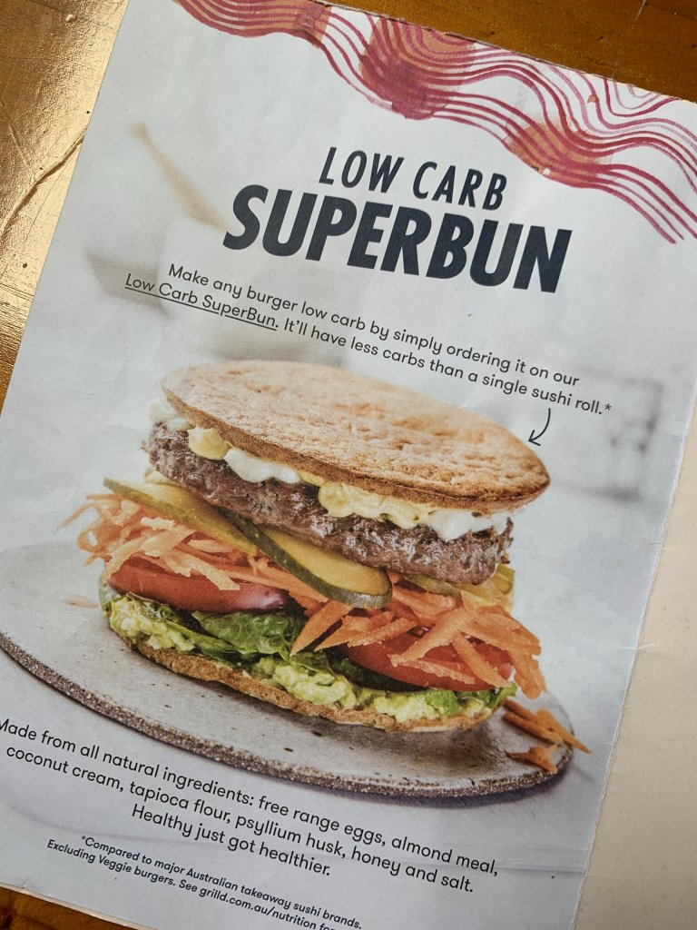 Photo of the Grill'd menu showing the low carb super bun.