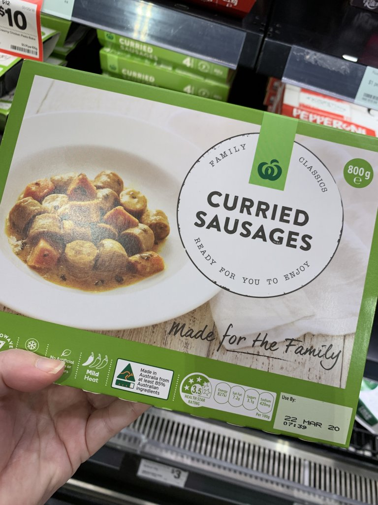 curried sausages in packet