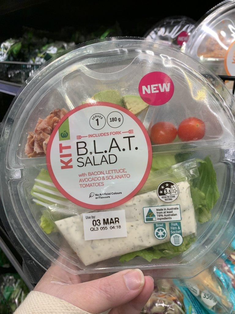 BLAT salad kit in packaging