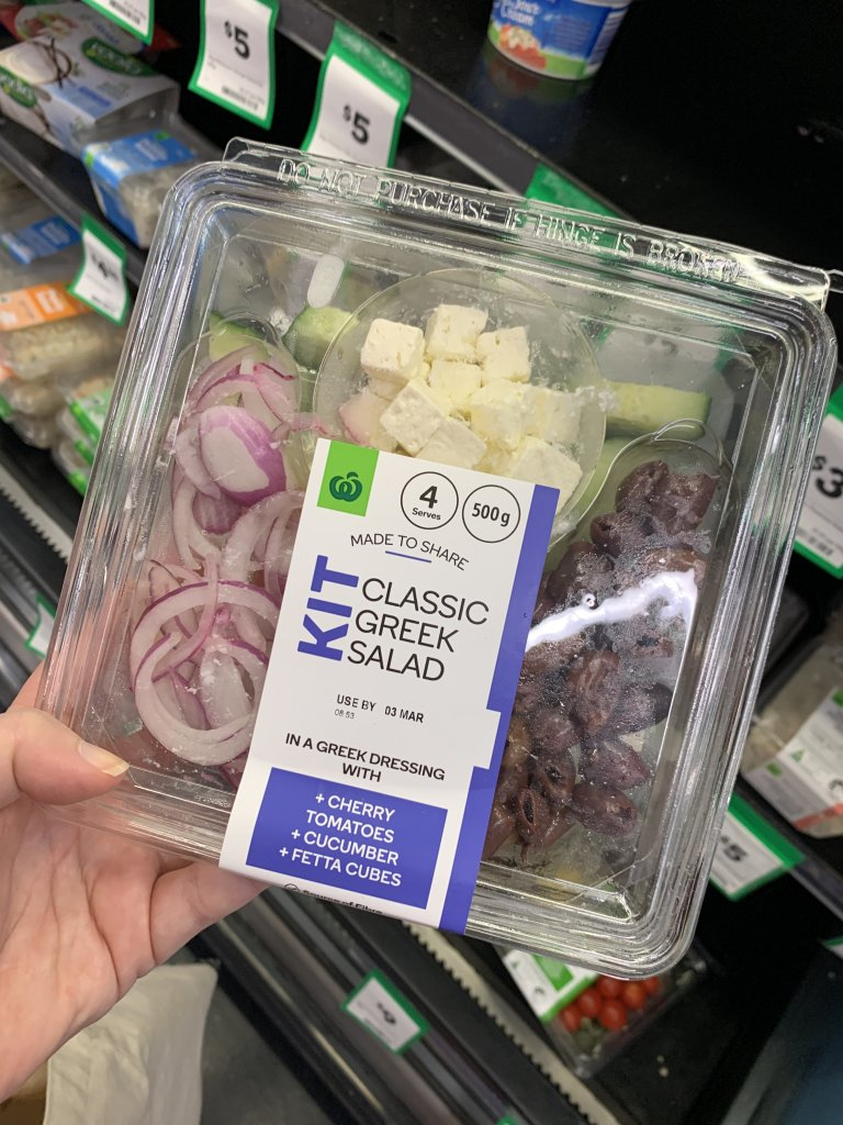 Classic greek salad kit in packaging