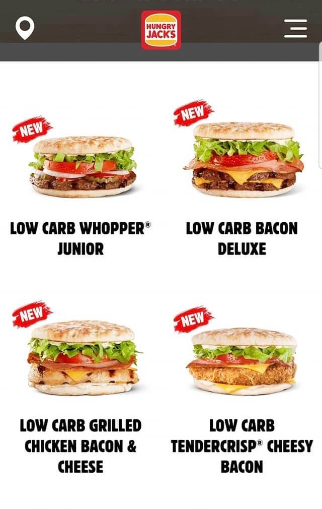Screen shot of the new hungry jacks low carb options.