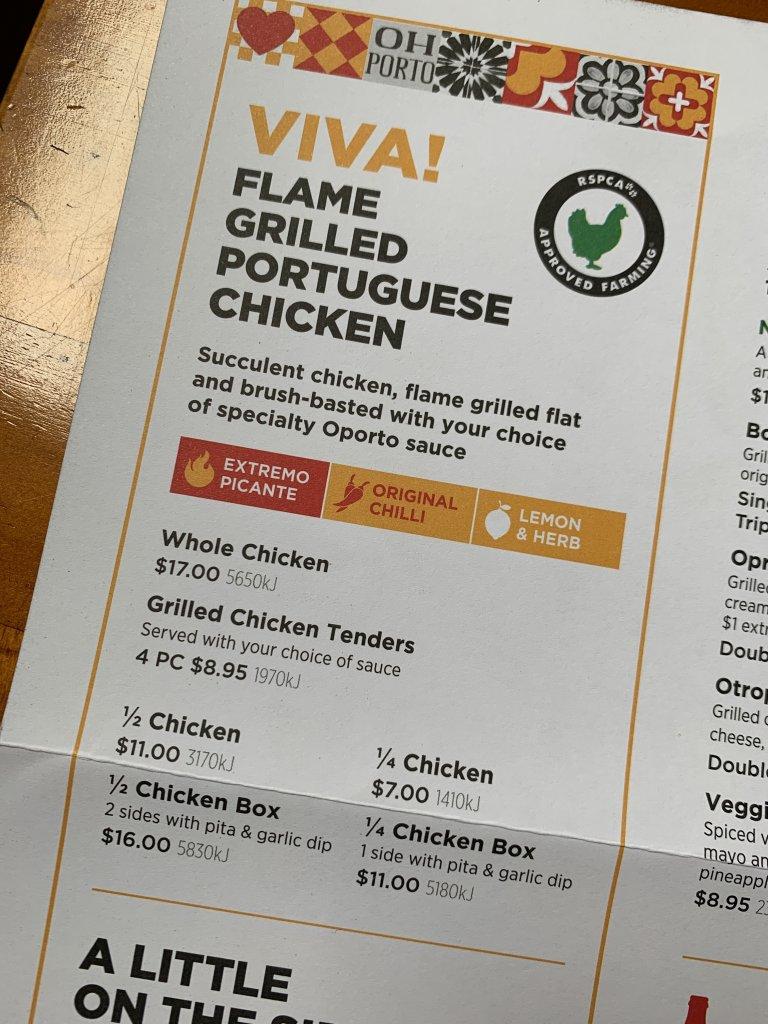 Photo of oporto menu