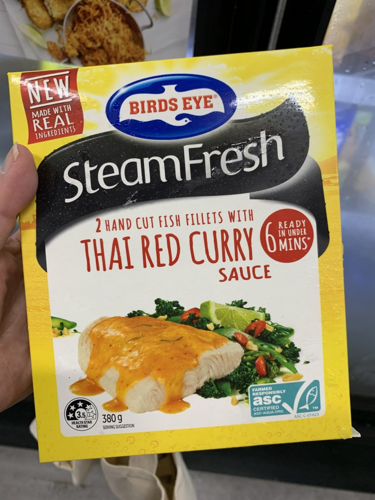 fish thai red curry in packet