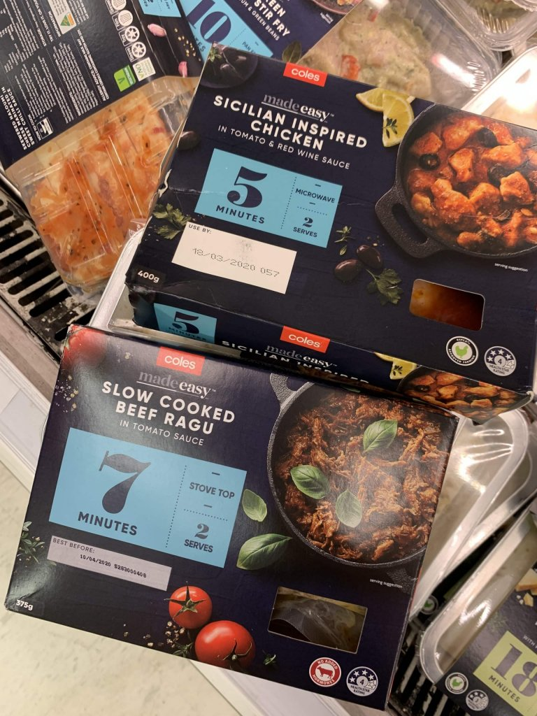 sicilian inspired chicken and slow cooked beef ragu in packets