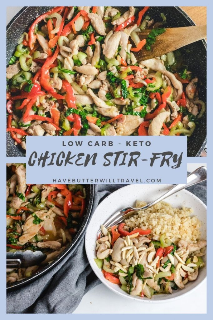 This keto chicken stir-fry recipe is a quick and simple weeknight dinner. In 20 minutes you will have a healthy low carb meal for 2 on the table. #ketostirfry #ketochickenstirfry #ketodinner