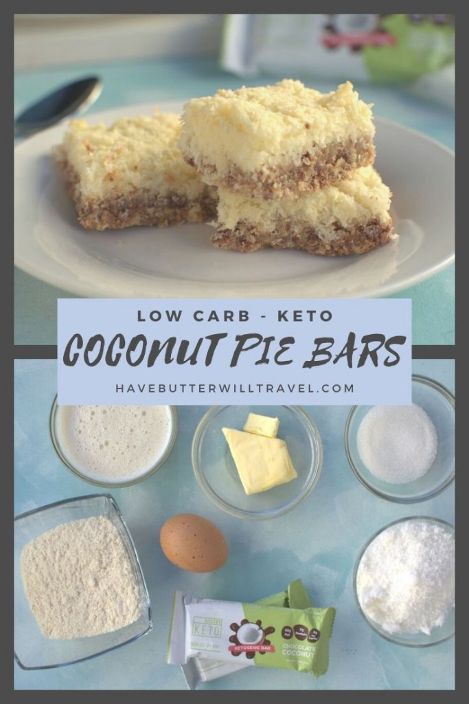 This coconut pie bar recipe is the perfect keto and low carb dessert. They are super simple to make and are only 2g of net carbs per serve. #ketodessert #coconutpiebars #lowcarbdessert