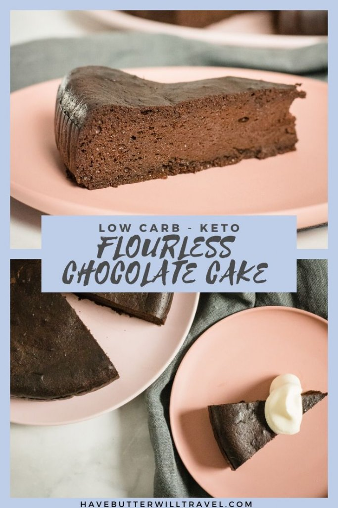 This keto flourless chocolate cake recipe is nut free and grain free. It is super quick and simple to make and is perfect for a celebration. #ketocake #ketochocolatecake #ketoflourlesschocolatecake