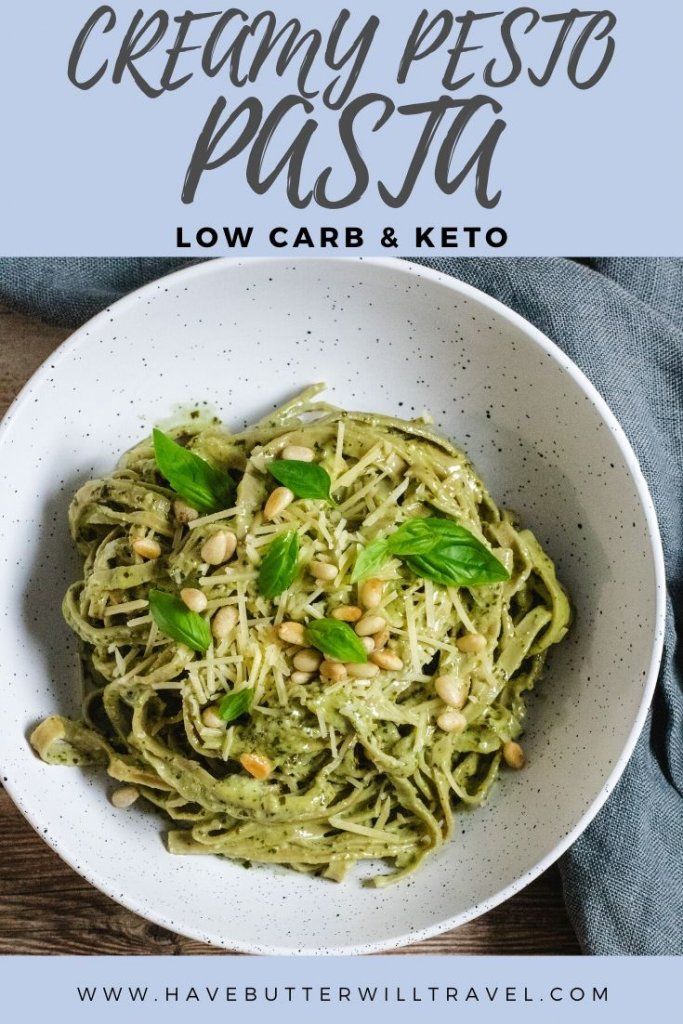 If you have been missing pasta on your low carb lifestyle, you need to give this delicious keto creamy pesto pasta a go. It uses the slendier edamame pasta. #ketopasta #Keotcreampestopasta