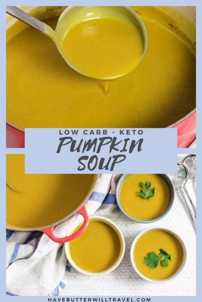 This keto pumpkin soup recipe is silky smooth, lovely and thick and full of flavour. If you love pumpkin soup you need to give this a try. #pumpkinsoup #ketopumpkinsoup #lowcarbpumpkinsoup