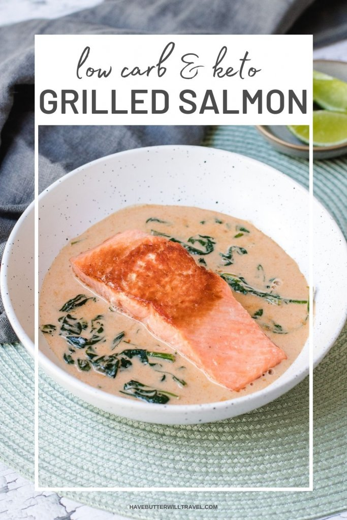 This delicious pan fried salmon with curry sauce is a quick and simple keto dinner. Perfect for a weekday meal.